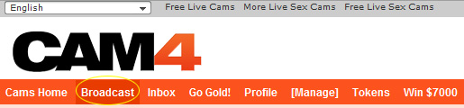 CAM4 Webcam: 1 - After login, click on 'Broadcast'.