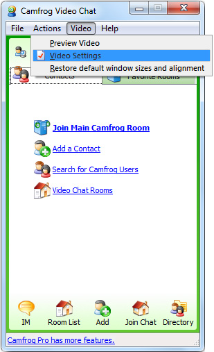 CamFrog Webcam: 1 - Click on 'Video' menu and select 'Video Settings'.