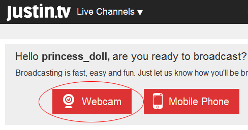 Justintv Webcam: 1 - Click on 'Webcam' button.
