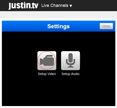 Justintv Webcam: 4 - Click on 'Setup Video' icon.