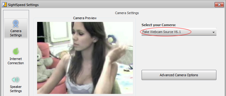 Sightspeed Webcam: 2 - Just select 'Webcam Simulator Source' from dropdown list and its done!.